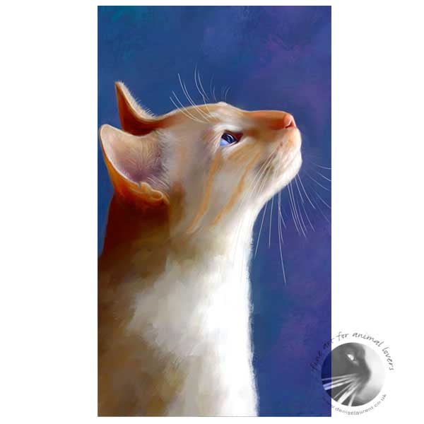 art print of a red point siamese cat watching a butterfly