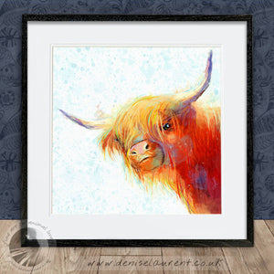 Rose In The Snow - Highland Cow Print