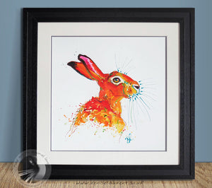 "Red Scribble Hare - 16x16"" Acrylic Painting"