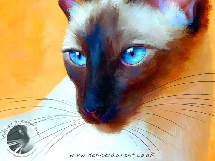 art print of a blue eyed siamese cat on a hot orange background