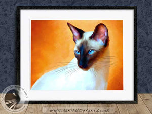 siamese cat portrait framed