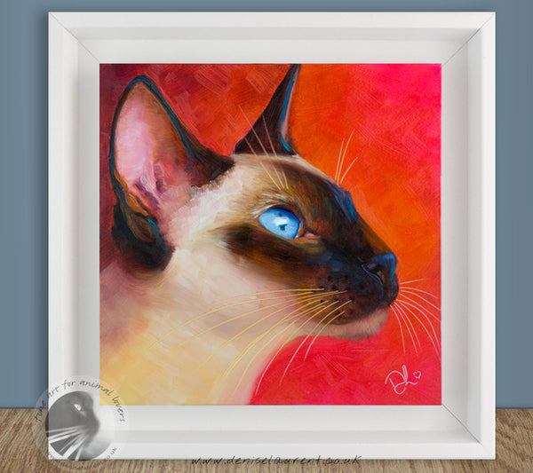 "Siamese Cat Profile - 8""x8"" Oil Painting"