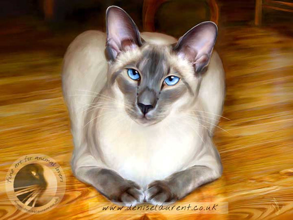 art print of a siamese cat on a polished wood floor