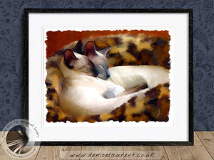 two siamese cats artwork framed