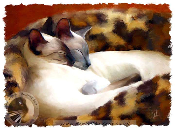 art print of two siamese cats curled in in their basket