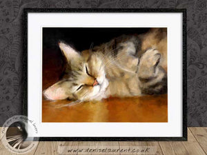 tabby cat wallart framed