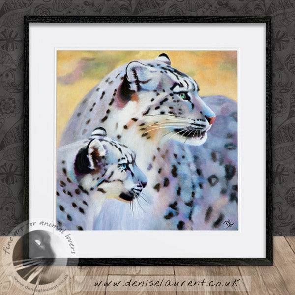 Mother And Cub - Snow Leopard Print