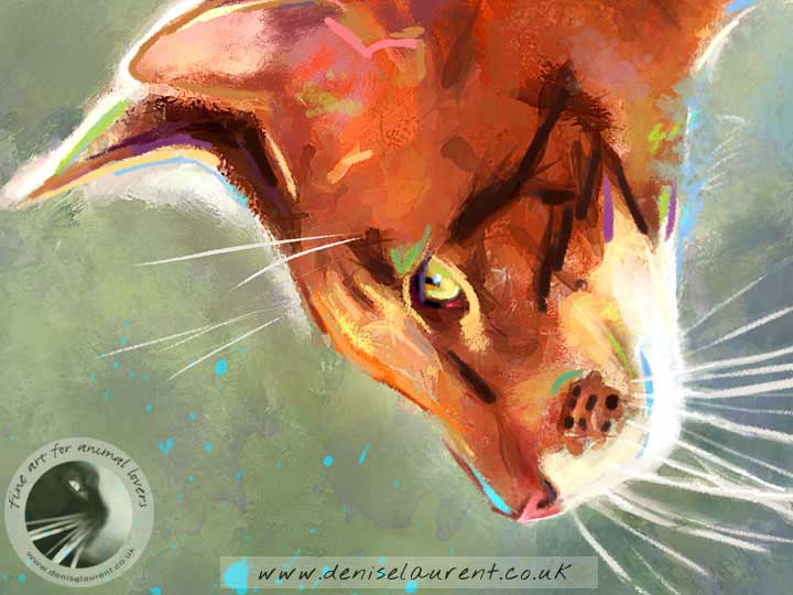 art print of a brown oriental cat watching a splash of water
