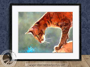 brown oriental cat artwork framed