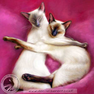 fine art print of a pair of siamese cat with their arms around each other on pink cushions