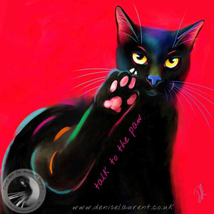 art print of a black cat with catitude on a red background