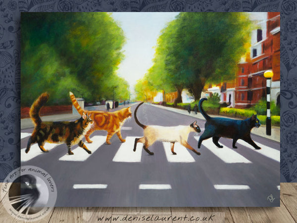 "Abbey Road Cats - 16""x12""Acrylic Painting"