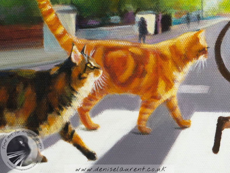 "The Abbey Road Cats - 16""x12""Acrylic Painting"