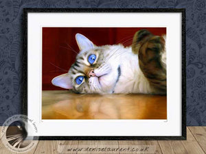 snow bengal cat wallart framed