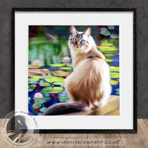 long haired cat artwork framed