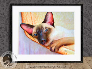 siamese cat wallart framed