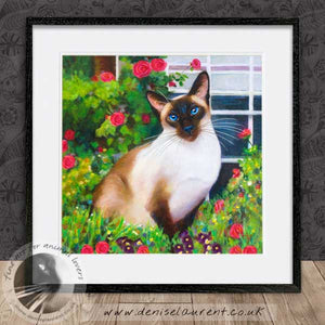 siamese cat and roses artwork framed