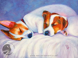 "Two Jack Russell Puppies -12x9"" Acrylic Painting"