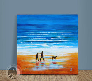 "A Walk On The Beach - 12x12"" Acrylic Painting"