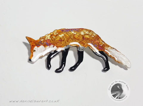 Walking Fox Brooch
