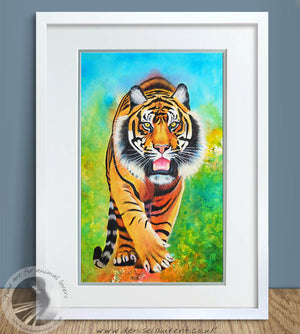 "Strolling Tiger - 18""x12"" Watercolour Painting"