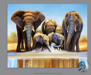 "Water Hole - 20""x16"" Oil Painting Framed"
