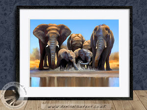 Water Hole - Elephant Print