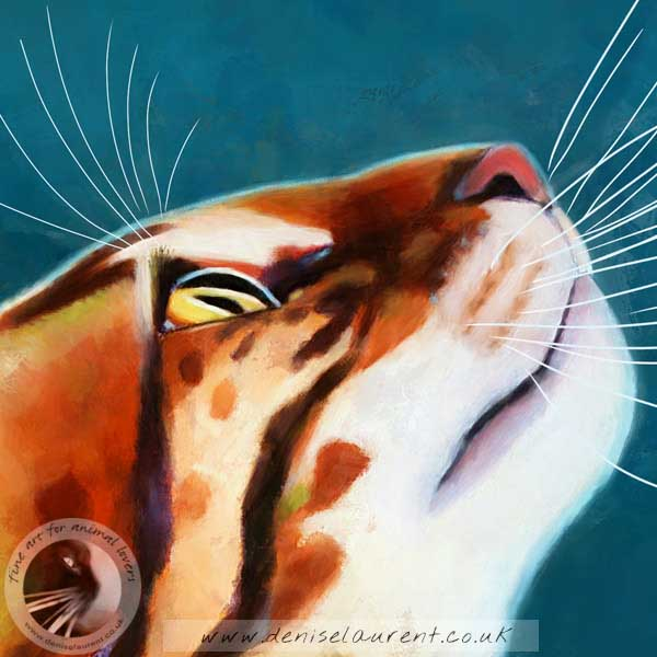 fine art print of a bengal cat in profile on a teal background