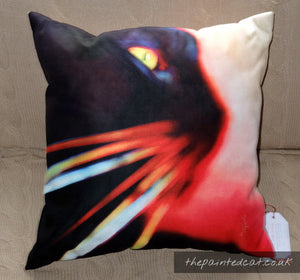 Whisker Face Black Cat Cushion