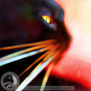 contemporary abstract art print of a black cat face and whiskers on a red backgound