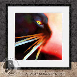 contemporary abstract black cat wallart framed