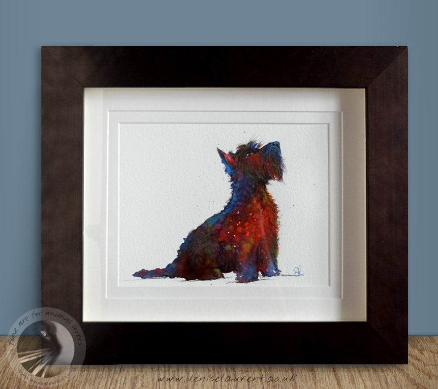 "Scottie - 10""x8"" Watercolour Painting Framed"