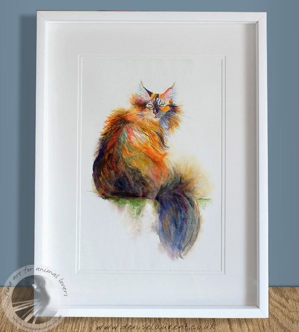 "Windswept Tortie -  18""x12"" Watercolour Painting"