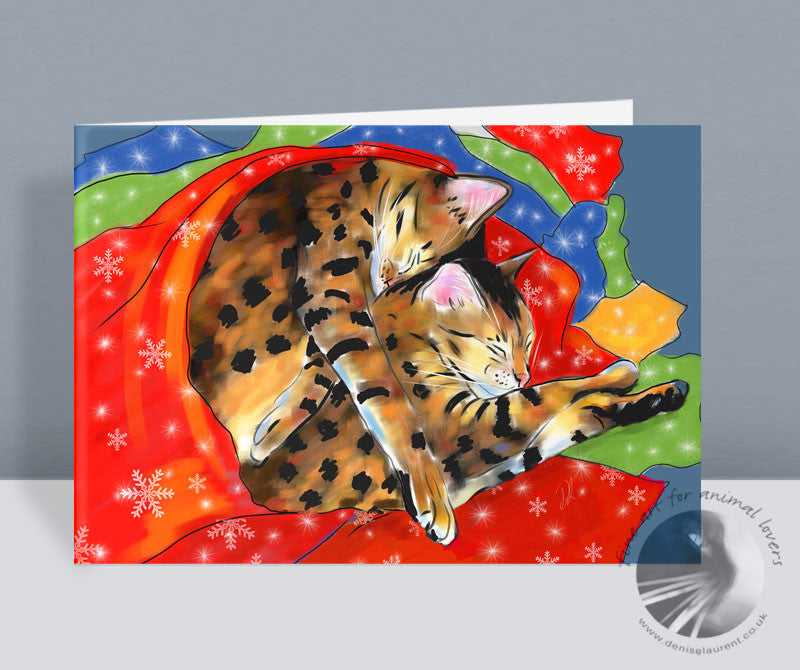 Gift Wrapped - Bengal Cat Christmas Cards