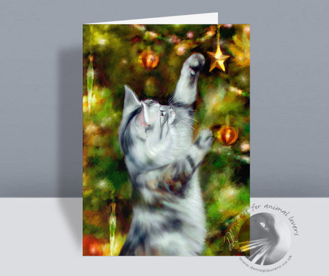 Star Catcher - Cat Christmas Card