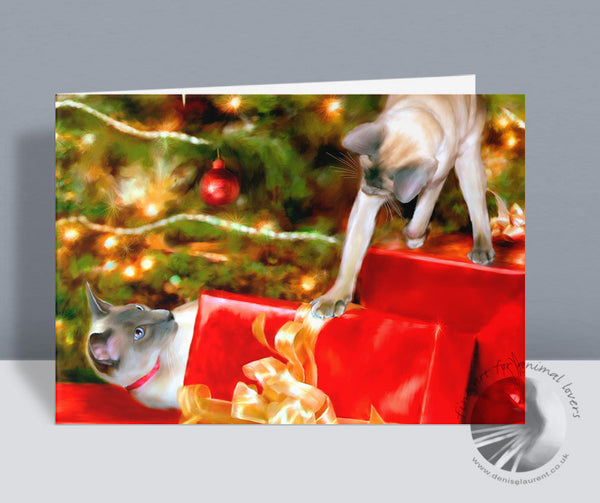 That's Mine! - Siamese Christmas Card