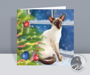 A Snowy Christmas Eve - Siamese Christmas Card