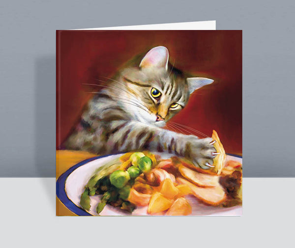 Take Away Turkey - Cat Christmas Card