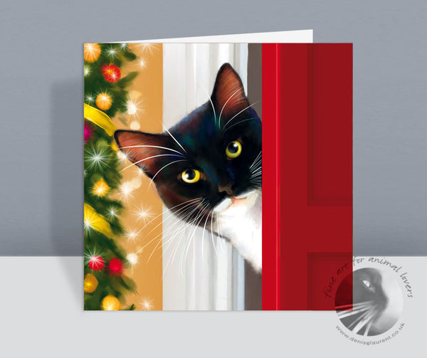 Has Santa Been? Tuxedo Cat Christmas Card
