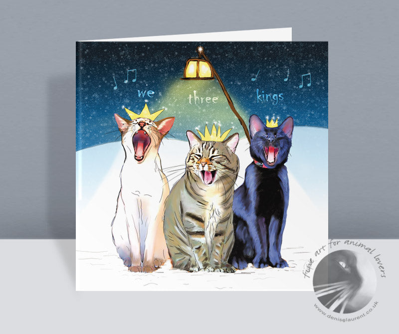 We three kings cat christmas card denise laurent art we three kings cat christmas card m4hsunfo