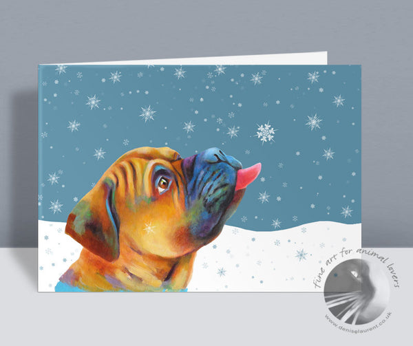 Snowflake Kisses - Bullmastiff Christmas Card
