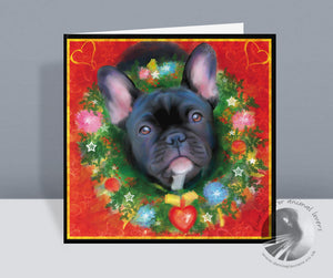 Deck The Halls - Frenchie Christmas Card