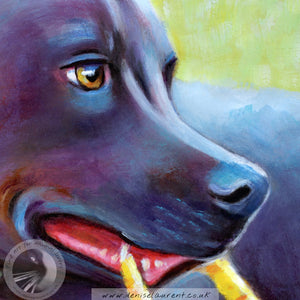 Yellow Ball - Blue Staffie Painting