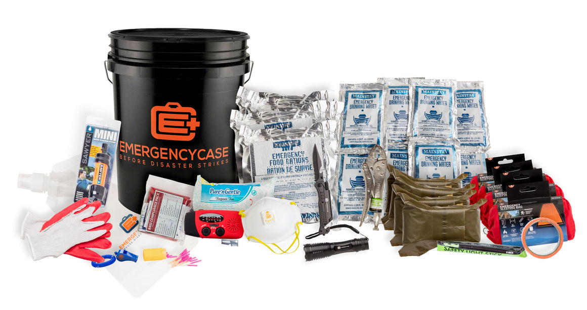 FAMILY 4 PERSON BLACK BUDGET BUCKET EMERGENCY KIT