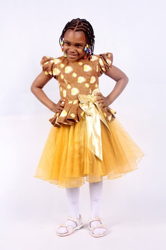 Girls African Print Peplum Dresses with Net Flared Buttom Brown and Yellow