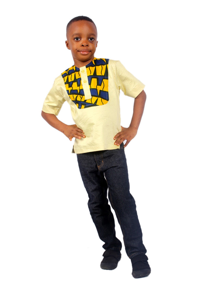 Boys Short Sleeves Shirts enhanced with a fusion of African Print Children Clothes Yellow and Blue  A unique bright short sleeves shirt with 2 front buttons for easy wear.  Detailed with a beautiful yellow and blue African print fabric.  Wear on top of a blue or black jeans and complete the prince charming look