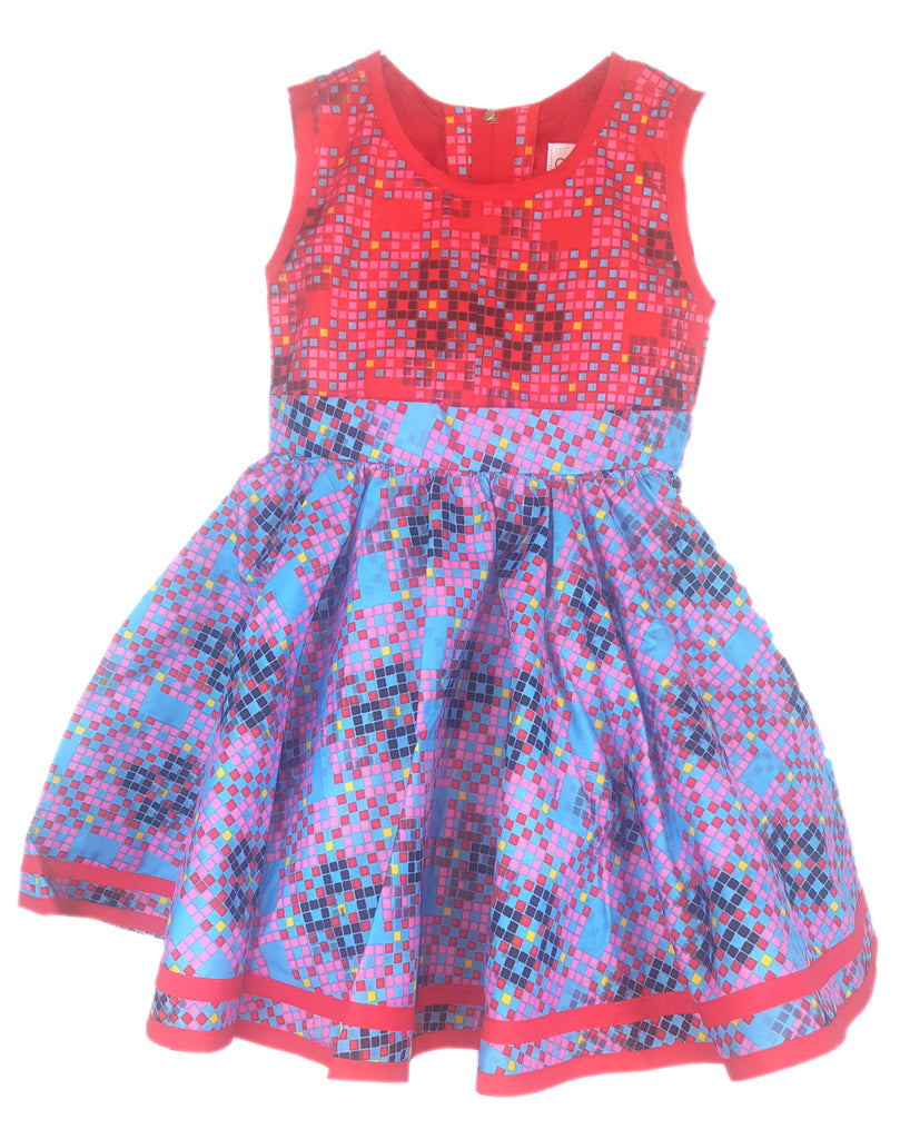 Girls Dot Pattern African Print A Line Dresses Pink and Blue