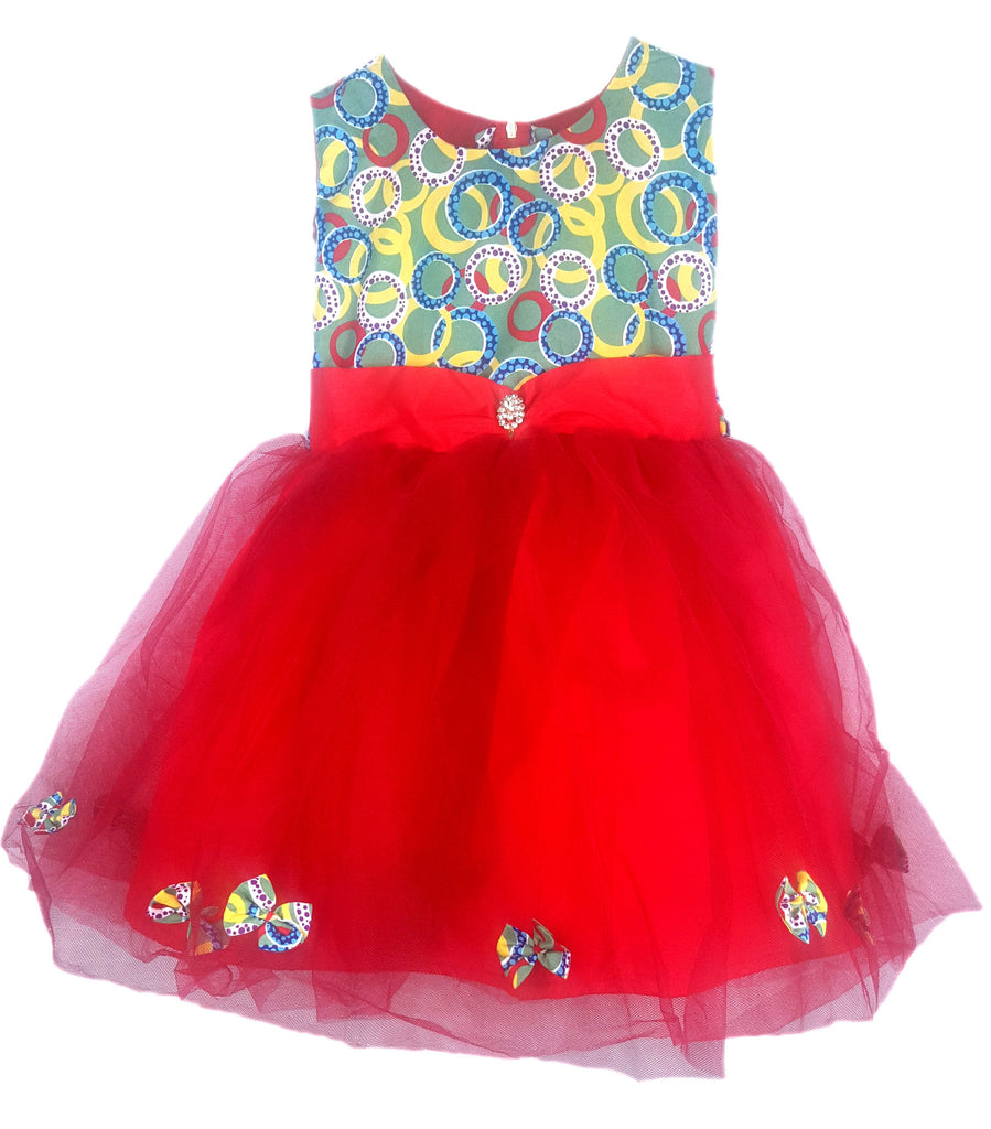 Girls Red African Print Tops with Tutu Bottom Dresses