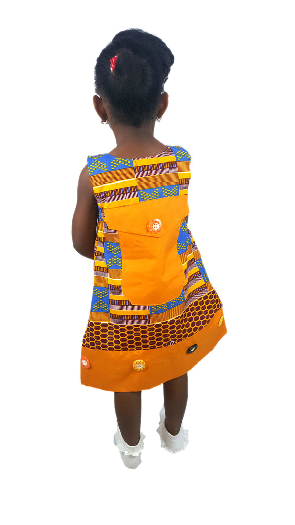 Girls African Print Kente Pinafores With A Feature Back Pocket Brown