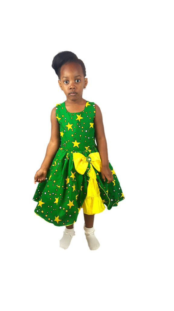 Girls African Print Bow Pin Up Flared Dresses Children Clothes Green and Yellow